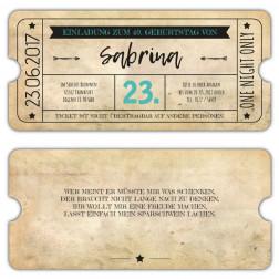 Einladungskarte als Eintrittskarte im Vintage Design