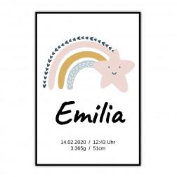 Geburtsposter Baby mit Regenbogen und Stern