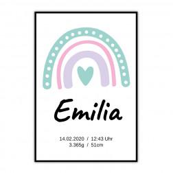 Geburtsposter Regenbogen mit Herz für Mädchen