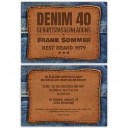 Geburststagseinladung als Jeans Label