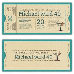 Einladungskarte als Vintage Ticket Eintrittskarte