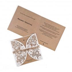 Hochzeitseinladung Lasercut Kraftpapier-Optik