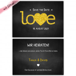 Save the Date Karte love mit Glitzer