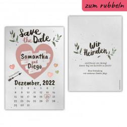 Save the Date Karte mit Rubbelherz Kraftpapier
