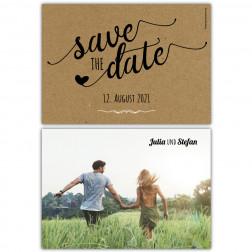 Save the Date Postkarte Kraftpapier vintage