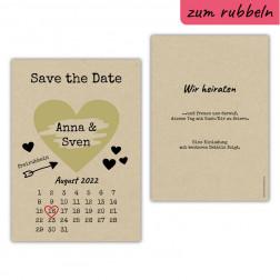 Save the Date Rubbelkarte Kraftpapier Vintage