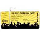 Einladungskarten zum Geburtstag als Eintrittskarte Konzertkarte Ticket Einladung Retro perforation