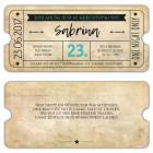 Geburtstagseinladung-als-Eintrittskarte-Ticket-Vintage-mit-Stern-und-Pfeil