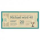 Geburtstagseinladungskarten-als-Party-Vintage-Ticket-Eintrittskarte-türkis-Amerika-Style