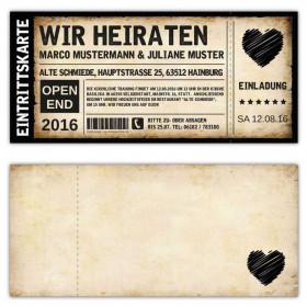 Einladungskarten Hochzeit Als Ticket Eintrittskarte Einladung Karte Vintage  Mit Herz ...