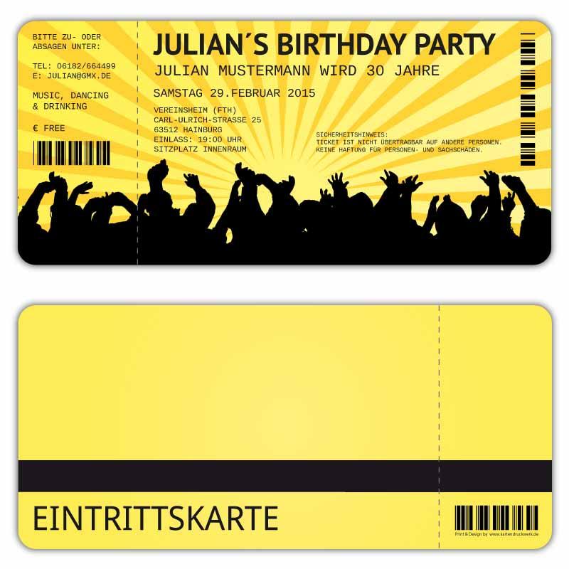 Einladungskarten als Eintrittskarte zum Geburtstag Party Feier Vintage Retro